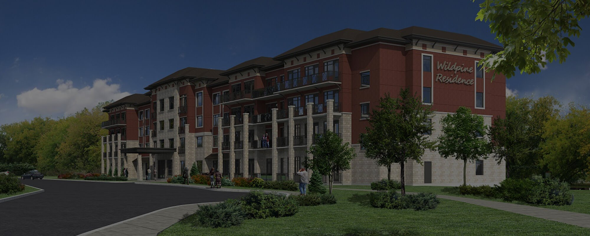 A 3D rendering of the finished Wildpine Residence building.
