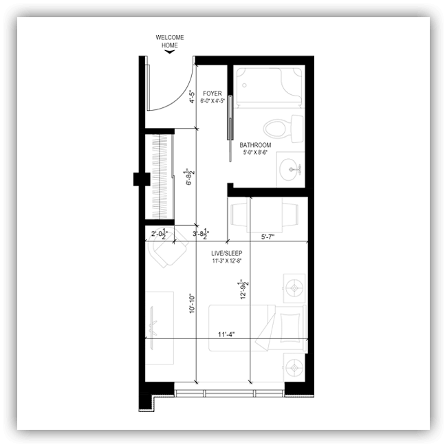 Floor plans for a 274 sq ft apartment at Wildpine Residence.