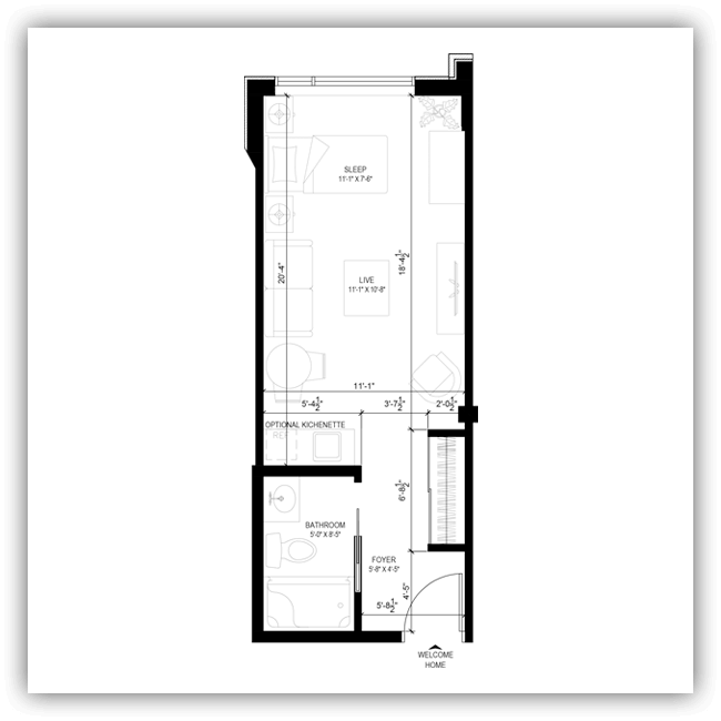Floor plans for a 362 sq ft apartment at Wildpine Residence.