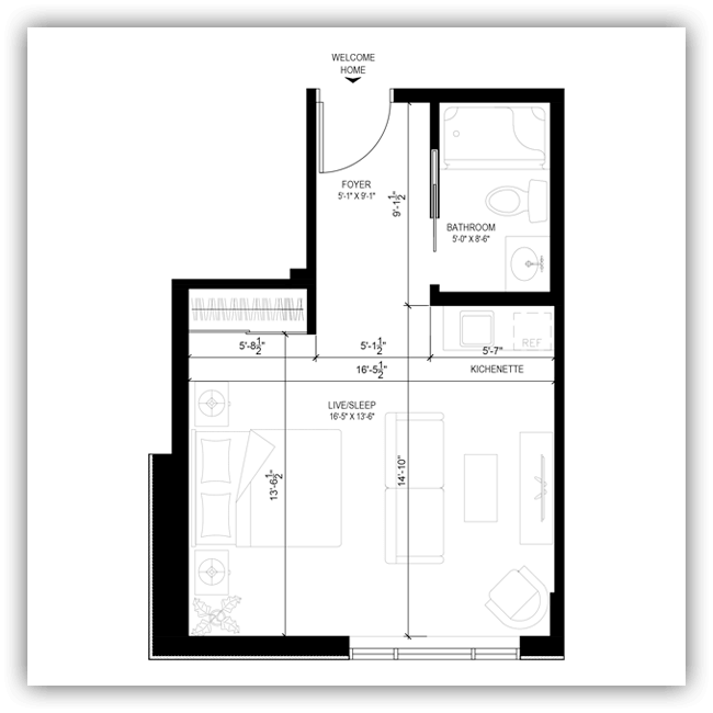 Floor plans for a 395 sq ft apartment at Wildpine Residence.