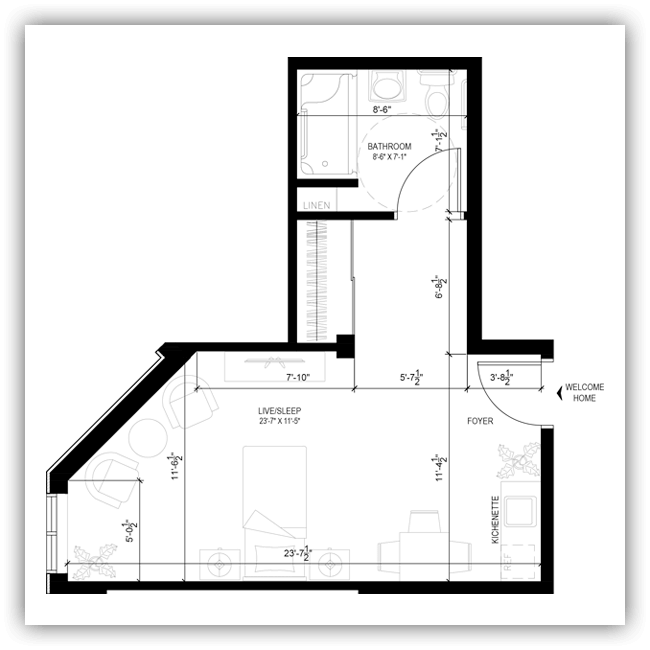 Floor plans for a 411 sq ft apartment at Wildpine Residence.