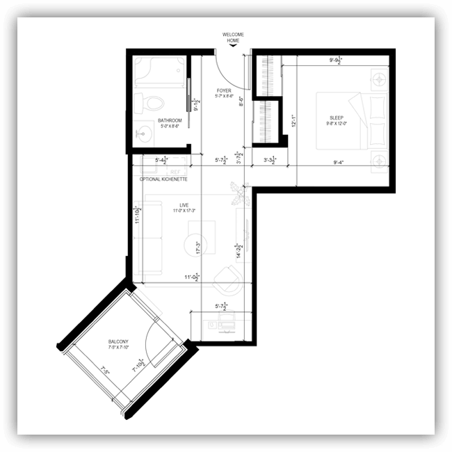 Floor plans for a 472 sq ft apartment at Wildpine Residence.