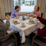 Elderly Residence Enjoying breakfast